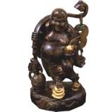 Antique Wood Statue Buddha Maitreya