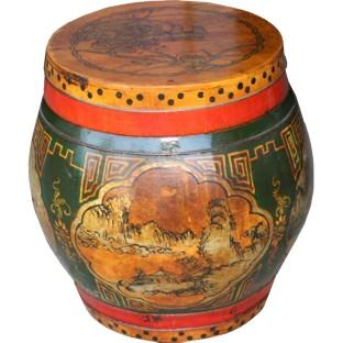 Original Painted Round Wood Container
