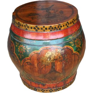 Original Painted Round Wood Container