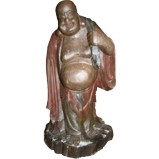 Antique Wood Buddha Maitreya Statue - Sack Carrying