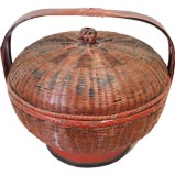 Rattan Basket with Painting