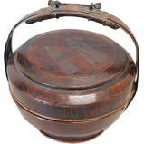 Chinese Wood Basket with Handle