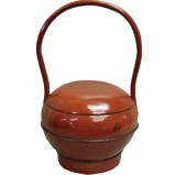 Red Lacquer Round Wood Carrier