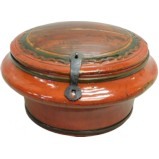 Red Lacquered Round Decor Wood Box