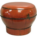 Red Lacquered Round Wood Box