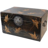 Black Leather Box with Butterflies Paintings
