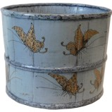 Grey Wood Bucket with Butterflies Paintings