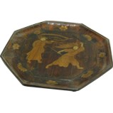 Wood Plate with Chinese Opera Painting