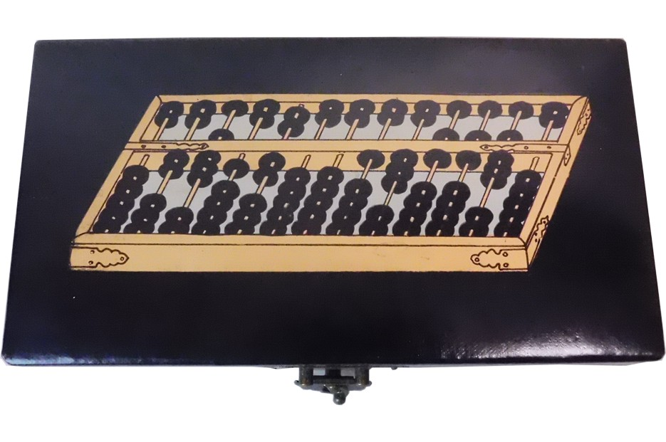 Chinese Abacus in Black Leather Box