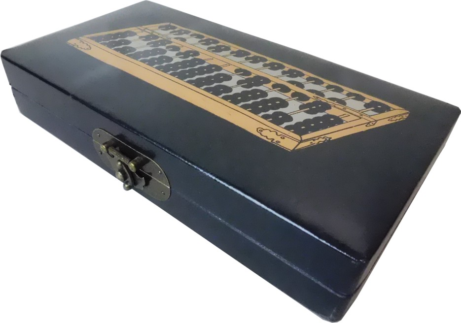 Chinese Abacus in Black Leather Box - Open View