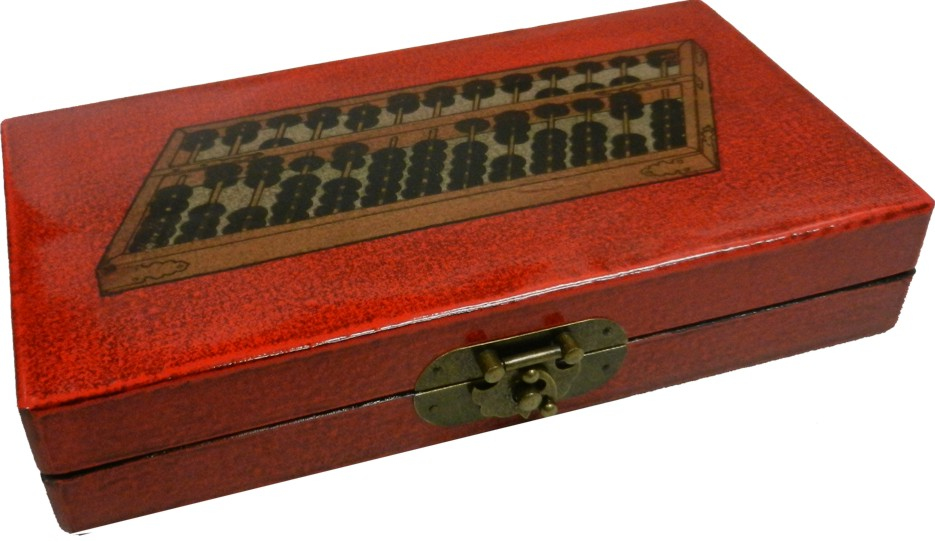 Chinese Abacus in Red Leather Box - Angel View