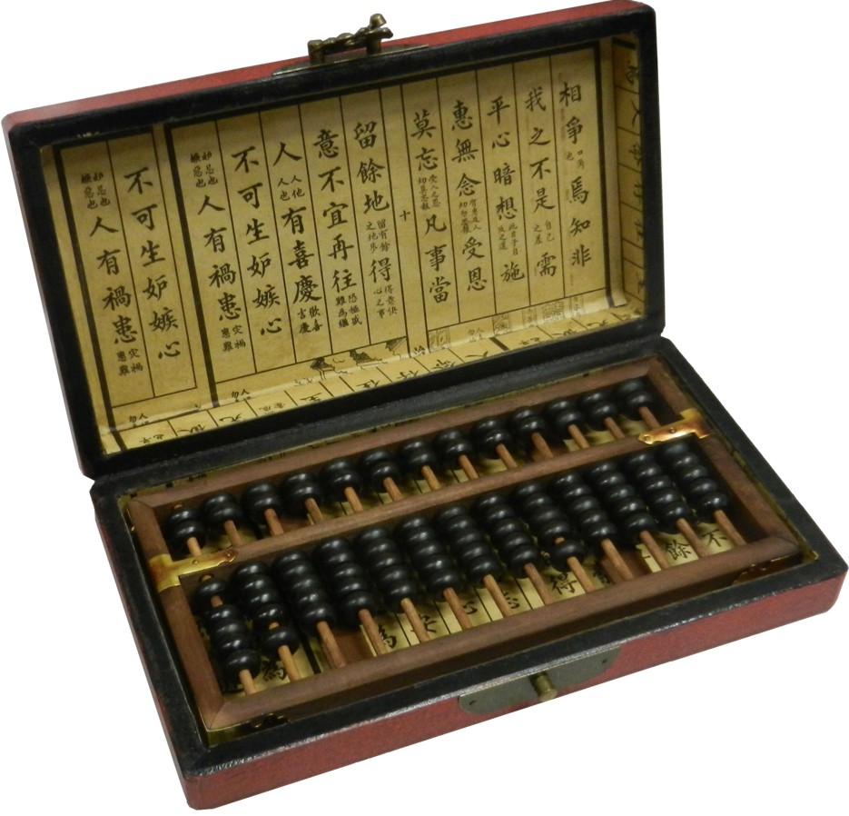 Chinese Abacus in Red Leather Box