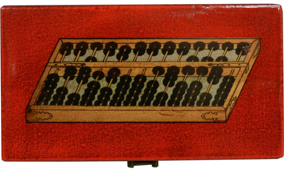 Chinese Abacus in Red Leather Box - Open View