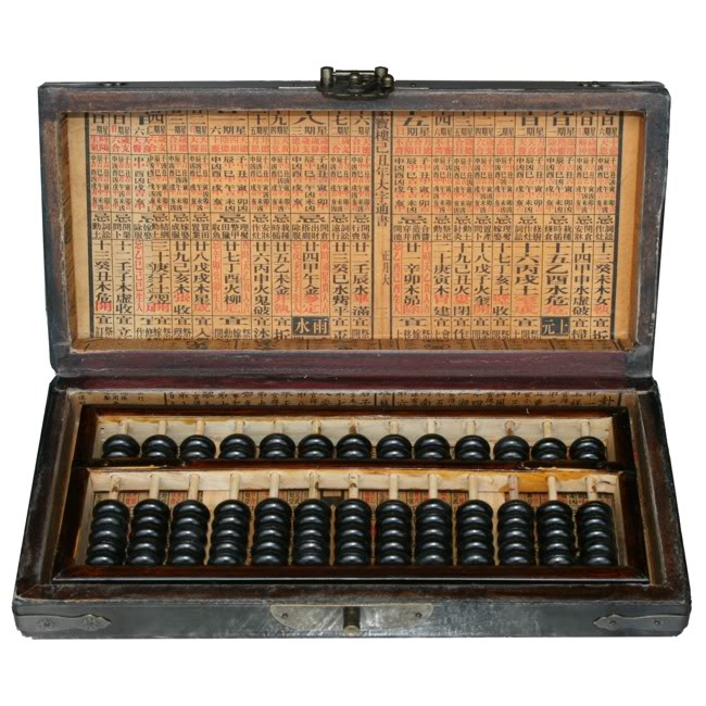 Chinese Abacus in Black Leather Box -Open View