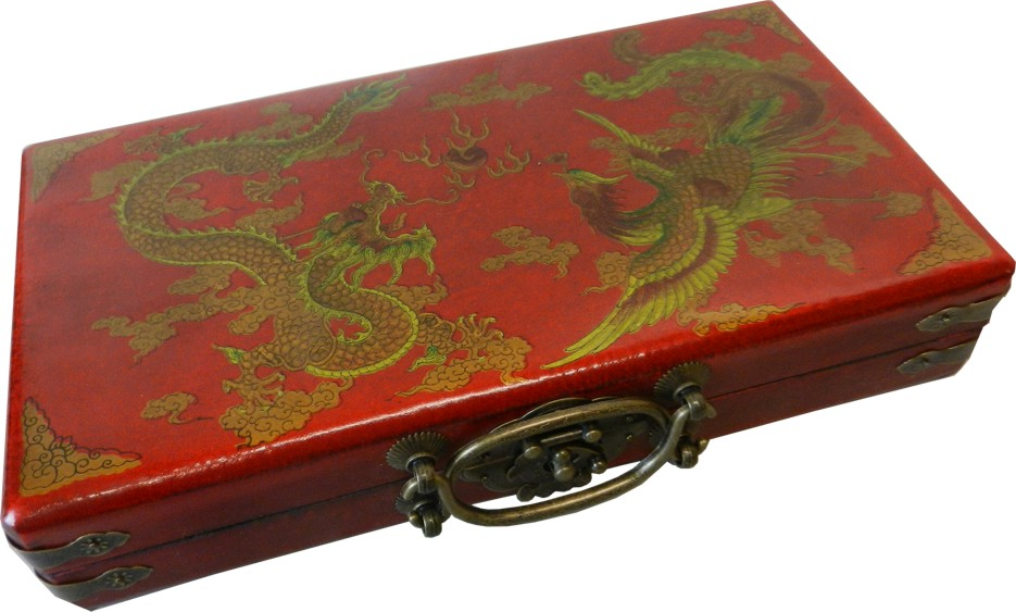 Chinese Abacus in Red Leather Box - Detail