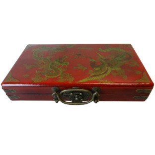 Chinese Abacus in Red Box - Dragon & Phoenix