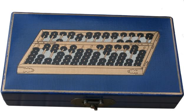 Chinese Abacus in Blue  Box - Top View