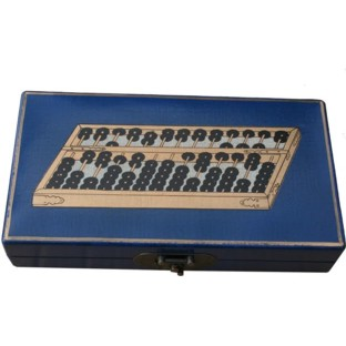 Chinese Abacus in Blue Painted Box