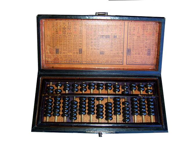 Chinese Abacus in Blue Leather Box