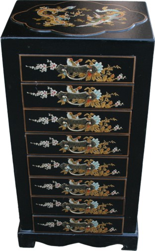 Black Chinese 8-Drawer Painted Filing Cabinet