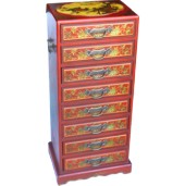 Red Chinese Eight Drawers Painted Filing Cabinet