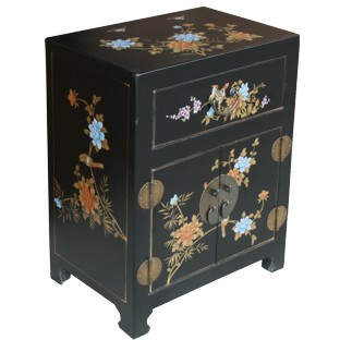 Chinese Black Floral Painted Bedside