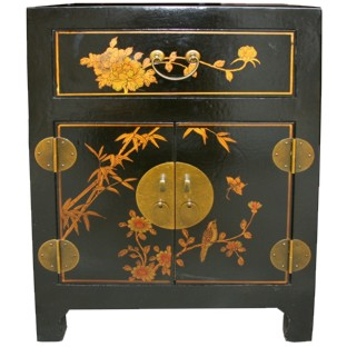 Chinese Black Top Drawer Painted Bedside
