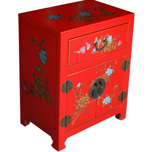 Chinese Red Floral Painted Bedside