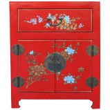 Chinese Red Flower Painted Bedside