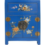 Chinese Blue Top Drawer Painted Bedside