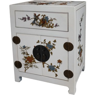 Chinese White Top Drawer Painted Bedside