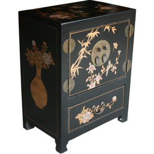 Chinese Black Two-Door One-Drawer Bedside