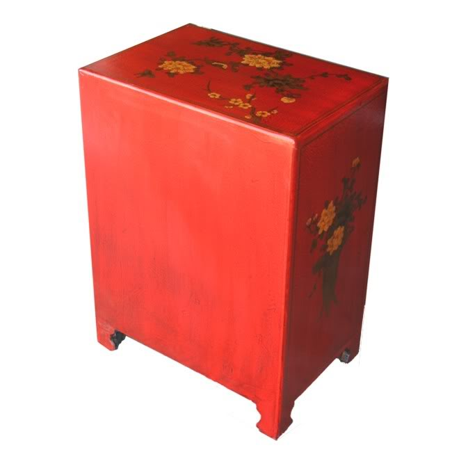 Oriental painted bedside table for Japanese bedside table