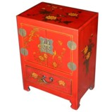 Chinese Red Two-Door One-Drawer Bedside