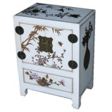 Chinese White Two-Door One-Drawer Bedside