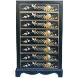Black Chinese 8-Drawer Painted Filing Cabinet - Flower