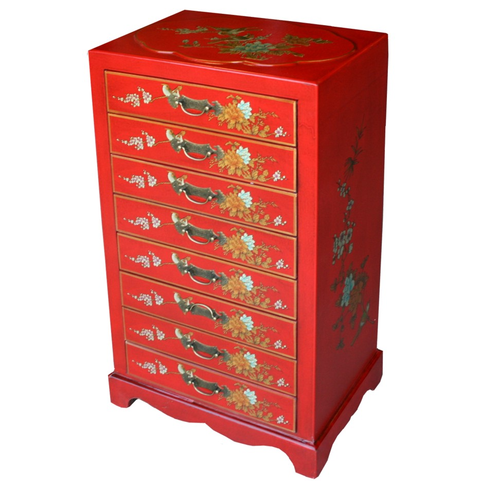 Chinese Red Filing Cabinet Eight Drawer - Dragon Phoenix