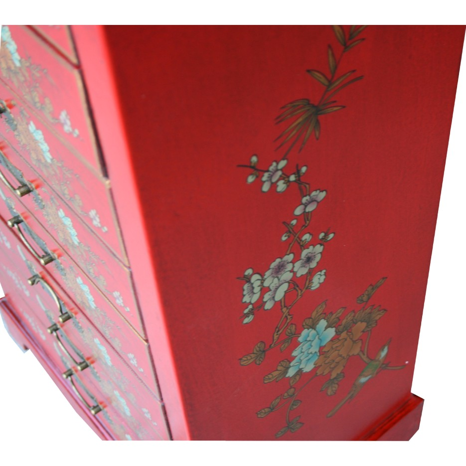 Chinese Red Filing Cabinet Eight Drawer - Dragon Phoenix Side