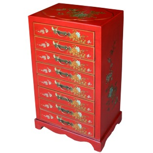 Red Chinese 8-Drawer Painted Filing Cabinet - Flower