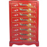 Red 8-Drawer Painted Filing Cabinet - Dragon Phoenix