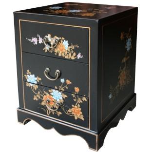 Black Painted Three-Drawer Bedside