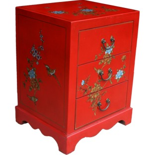 Red Flower Painted Three-Drawer Bedside