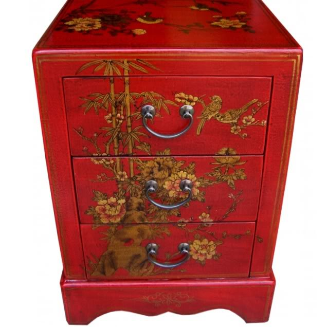 Red Leather Three Drawers Bedside - Front View