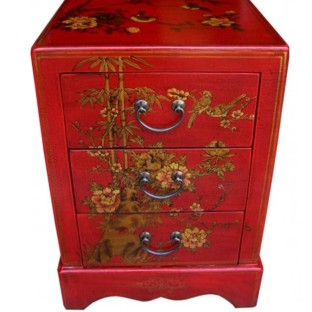 Red Painted Three-Drawer Bedside