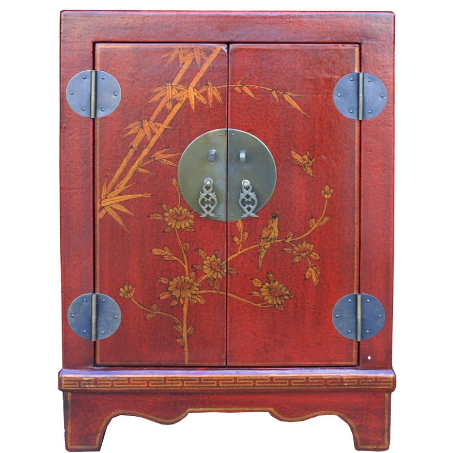 BC-SR Red Chinese Bedside Cabinet - Front View
