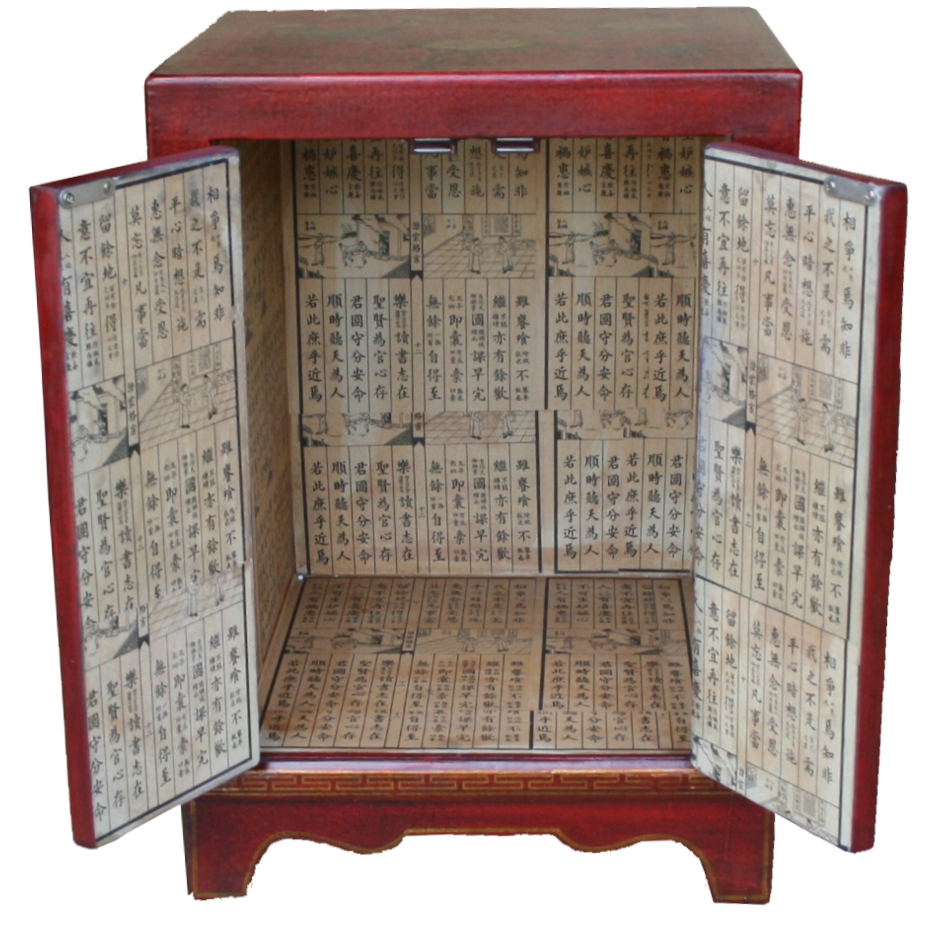 BC-SR Red Chinese Bedside Cabinet -Open View