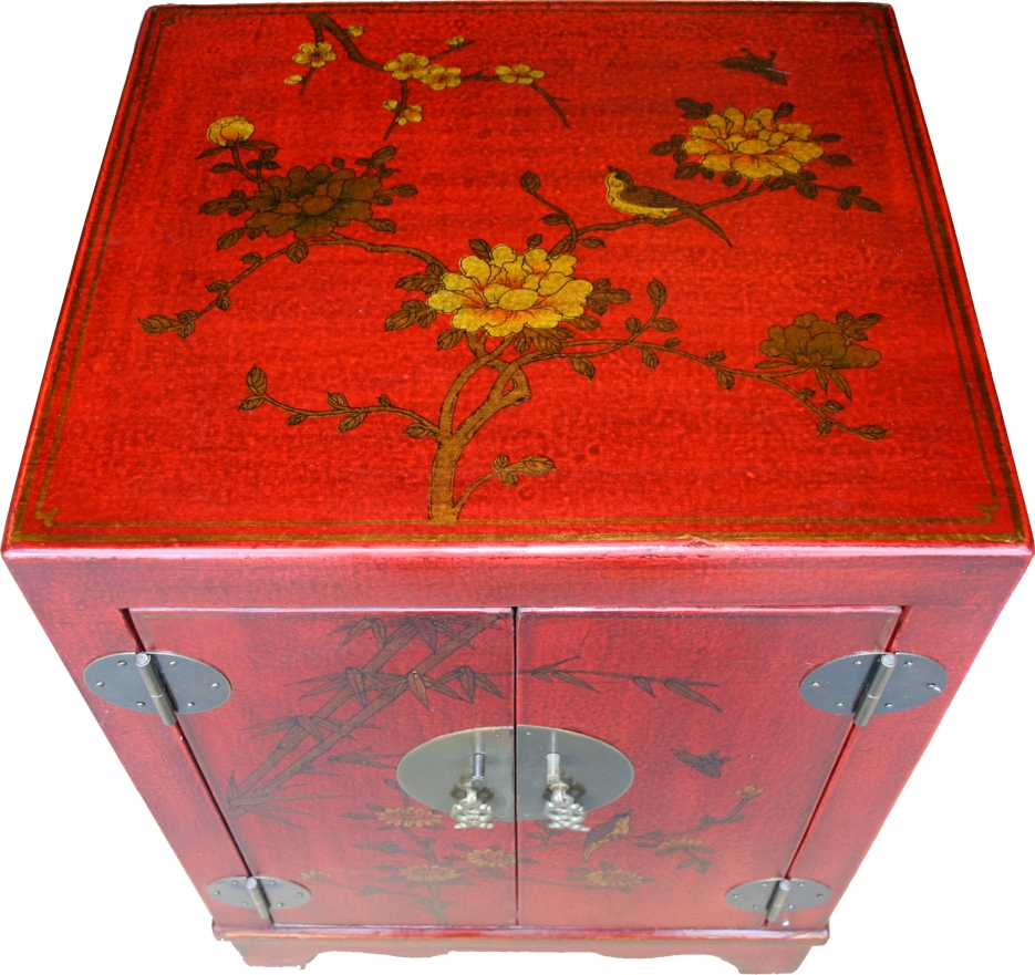 BC-SR Red Chinese Bedside Cabinet -Top View