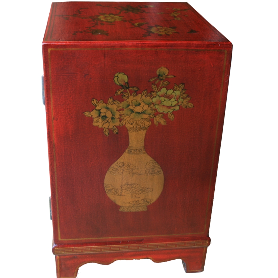 BC-SR Red Chinese Bedside Cabinet -Side View