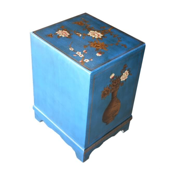 Blue Leather Two Doors Bedside - Back View