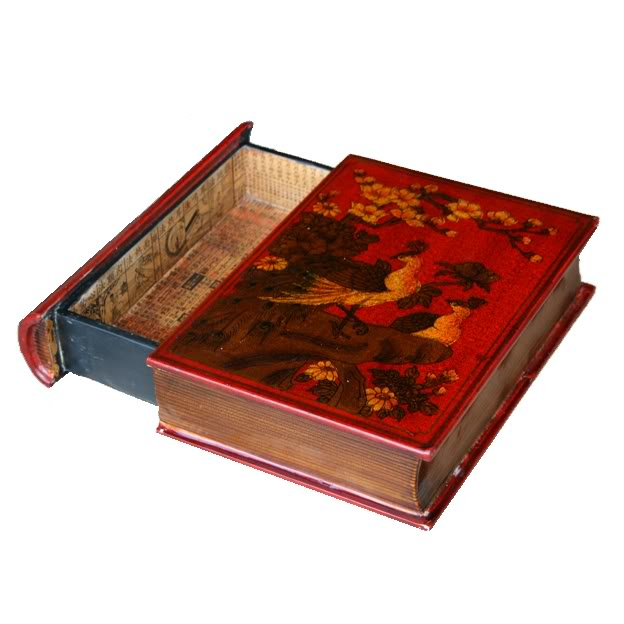 Red A4 Size Bookshape Jewellery Box - Drawer style - Open View